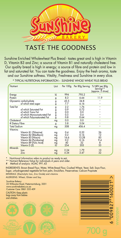 Nutrition Info Whole weat Bread